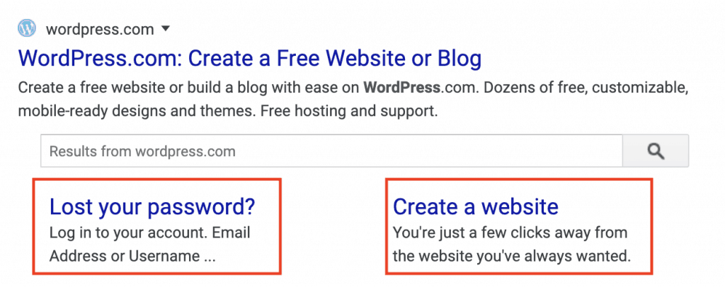 Google Site Links Organic Example